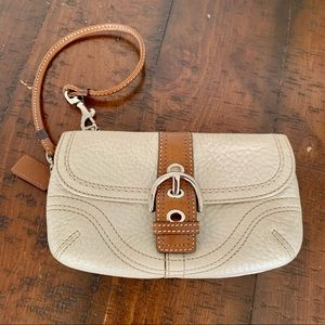 Coach White Tan Wristlet Wallet